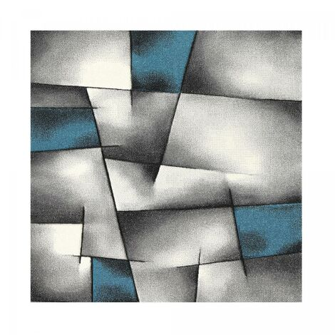 80x300 - UN AMOUR DE TAPIS - Tapis Salon Moderne Design Poils Ras - Petit Tapis Salon - Tapis Chambre Turquoise - Tapis Salon Bleu Gris