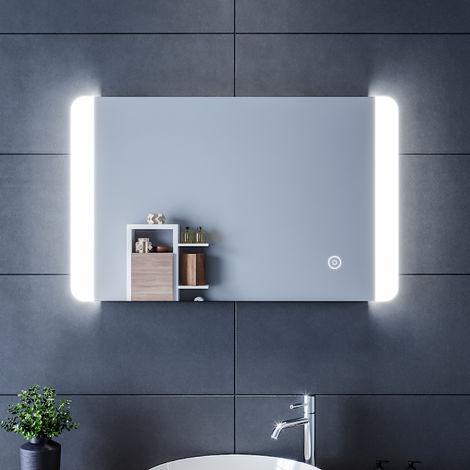 80x50 CM 12W Miroir de salle de bains avec éclairage LED Miroir Cosmétiques Mural Lumière Illumination avec Commande par Effleurement et demister ELEGANT