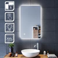 80x50 CM Miroir de salle de bains avec éclairage LED Miroir Cosmétiques Mural Lumière Illumination avec Commande par Effleurement et demister ELEGANT