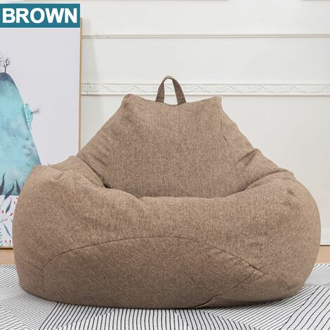 80x90cm Large Beanbag Chairs Couch Sofa Cover Indoor Lazy Chaise Longue For Adults No Filling (Brown, Middle)