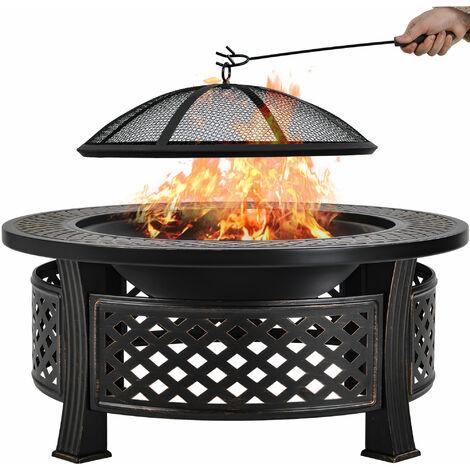 81CM Garden Fire Pit Garden Patio Brazier Heater BBQ Firepit Table with BBQ Grill