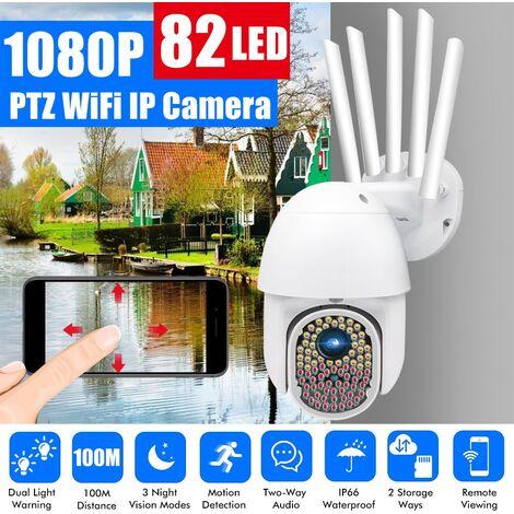 [82 LED, double alertes lumineuses, distance de 100 m] Caméra IP WiFi extérieure PTZ HD 1080P IP66 Surveillance de sécurité à domicile