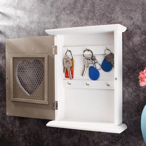 "8.27X10.43X2.76 ""Wooden Key Cabinet Vintage Key Cabinet Hooks Storage Holder Wall Organizer Hasaki"