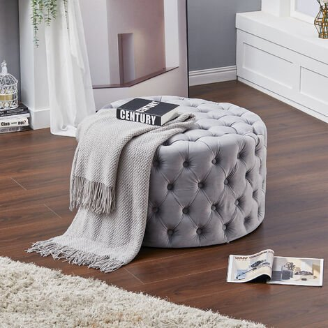 82CM Round Frosted Velvet Buttoned Footstool