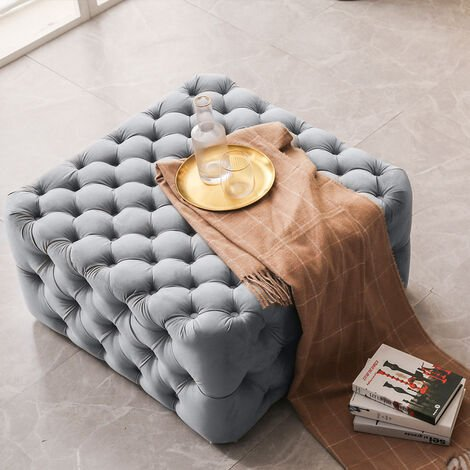 82CM Square Frosted Velvet Buttoned Footstool