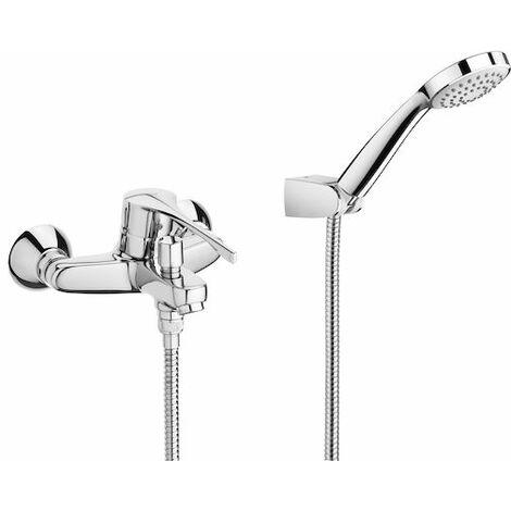 8433290303551 Roca - PRO - Mezclador exterior baño-ducha con inversor automático ducha teléfono flexible de 170 m. y soporte articulado. Manecilla para Personas con Movilidad Reducida. - Serie Victoria