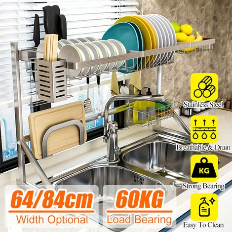 84cm Stainless Steel Kitchen Shelf Rack Drying Pool Drain Basket Drain Double Sink Drainer Storage Rack Tableware Cabinet Home (84cm)
