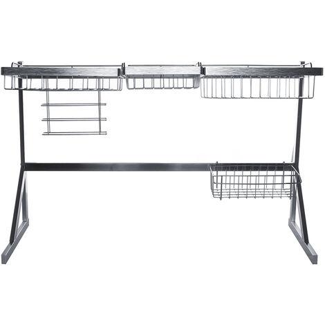 "main image of ""84cm Stainless Steel Kitchen Shelf Rack Drying Pool Drain Basket Drain Double Sink Drainer Storage Rack Tableware Cabinet Home (84cm)"""