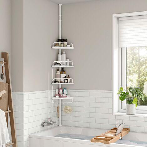 85-305 cm Estantería esquinera para baño con 4 baldas Estantes para artículos de Ducha Altura Ajustable BCB001A