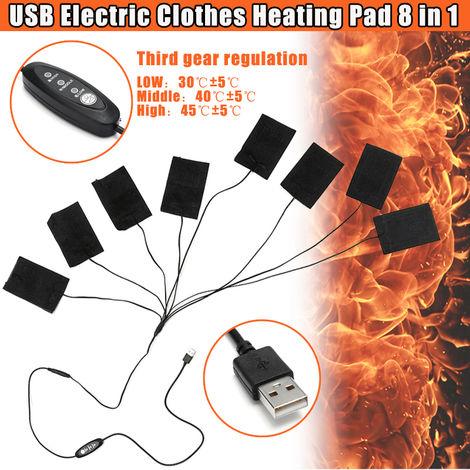 8,5 W 8 piezas almohadilla térmica eléctrica 3 velocidades ajustadas DIY chaleco térmico chaleco térmico cuerpo calentador cuidado de la salud