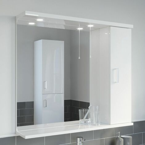 850mm Modern Bathroom Mirror Cabinet Illuminated White Gloss Shelf Wall Hung