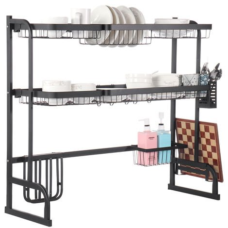 85.5cm Stainless Steel Double Layer Dish Rack Shelf Bracket