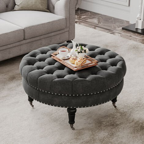 85CM Linen Round Buttoned Footstool With 4 Casters, Grey