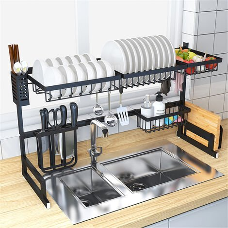 85cm Mohoo Stainless Steel Kitchen Shelf Storage Racks Bowl Dish Rack Organizers