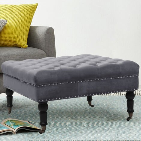 85CM Velvet Square Buttoned Footstool With 4 Casters, Grey