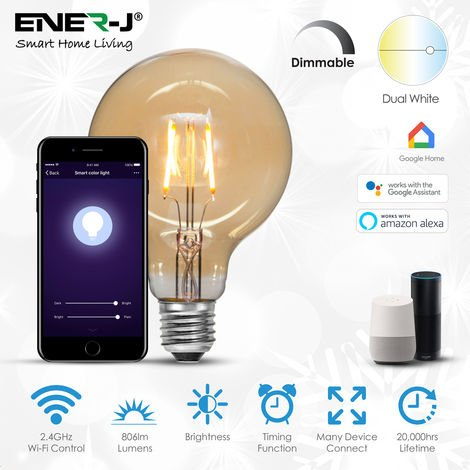 8.5W Smart WiFi G95 Globe Filament Lamp, Amber Glass, CCT Changing (6000K to 2700K) and Dimmable