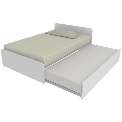 """main image of """"864R - Letto cameretta 120x190 1piazza e mezza con secondo letto estraibile e testate personalizzabili.Reti incluse - Testata a destra - Bianco - Bianco"""""""