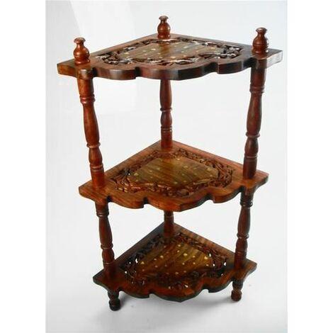 86x52cm Indian Hand Carved 3 Tier Corner Shelf Telephone Bedside Side Table