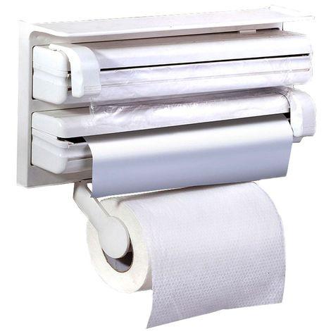 870592 Dispensador de pared TRIPLE papel aluminio especias film color BLANCO