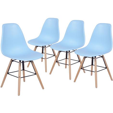 8835 Set de 4 sillas de comedor azules