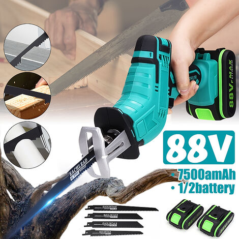 88V Scie alternative électrique sans fil lame de scie (bleu, avec 2 Batterie)