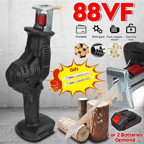 88VF scie alternative électrique sans fil scie sabre pour branches / métal / PVC / coupe de bois avec lumière LED (avec batterie Li-ion 2 PCS)