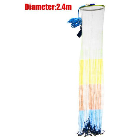 8Ft / 2.4M Main Throw Fishing Molded Net Spin Bait Diver Mesh Equipment Diameter