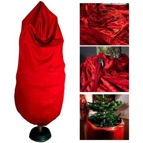8ft Christmas Tree Skirt Sack No Mess Needle Cover Crushed Velvet Reusable