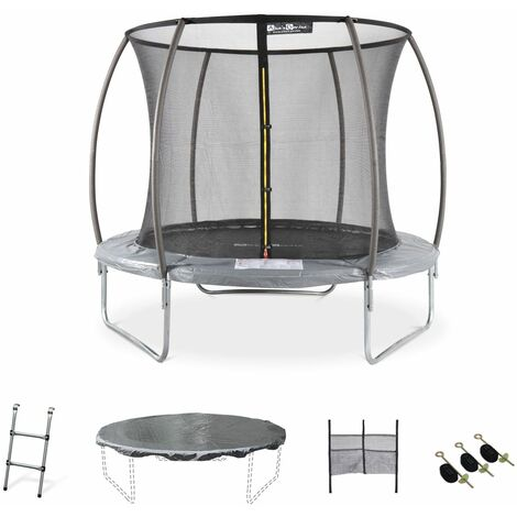 8ft Trampoline with accessories kit - Ø250 cm - Pluton Inner - New Design - Garden trampoline with curved tubes 2.5 m |Quality PRO. | EU standards.