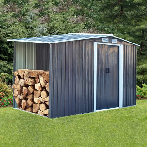 8ft x 4ft Grey Garden Metal Storage Shed With Log Wood Store Room Space