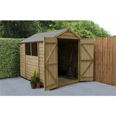 8ft x 6ft Pressure Treated Overlap Apex Wooden Garden Shed - Double Door (2.4m x 1.9m) - Modular (CORE)