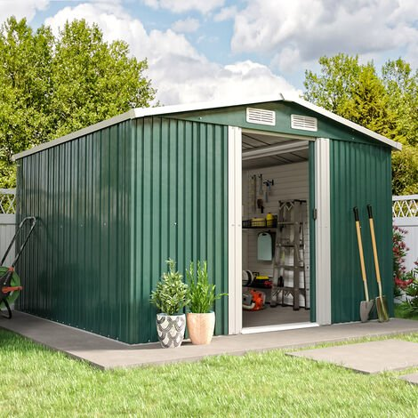 8ft x 8ft Green Metal Garden Shed Garden Storage WITH FREE BASE Foundation