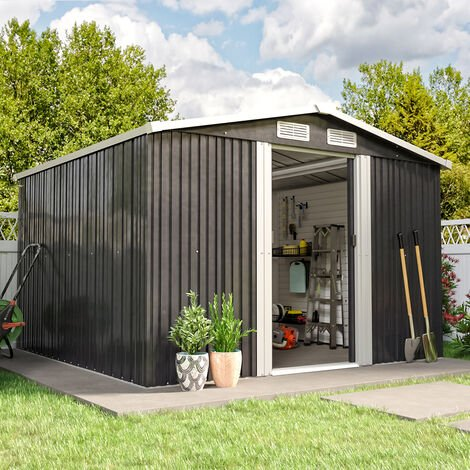 8ft x 8ft Grey Metal Garden Shed Garden Storage WITH FREE BASE Foundation