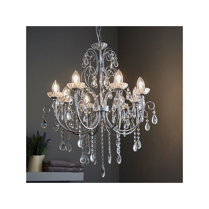 Image of 8Lt Ceiling Pendant Light Chrome Effect Plate & Clear Crystal Glass Droplet