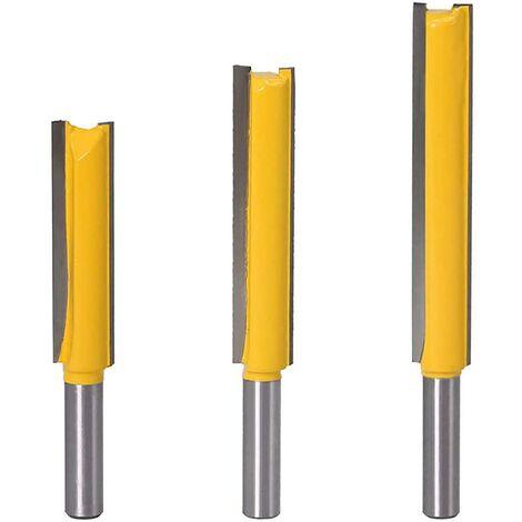 8mm Jarret Jeu de mors droits Outils de travail du bois de fraise en bois de carbure 3 pièces Mèches de routeur droites extra longues 8 * 1/2 * 50, 8 * 1/2 * 63, 8 * 1/2 * 76