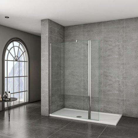 8mm NANO Walk In Wet Room Shower Enclosure Glass Screen & Optional Flipper Panel