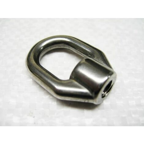 "main image of ""8MM Single Guardrail Eye Nut Open Ended Internal Thread Stainless Steel - Guardwire Elongated Eyenut"""