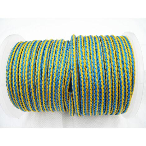 8MM x 100 Metre Blue/Yellow 16 Plait Single Braided PolyPropylene Rope - PP Hollow