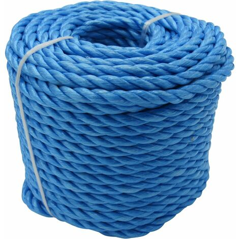8MM x 220M Blue 3 Strand Polypropylene Rope Coil - Shipping Camping Fender Yacht