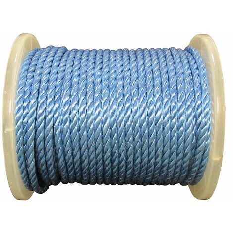 8MM x 73M Reel Blue 3 Strand Polypropylene Rope - Shipping Camping Fender Yacht