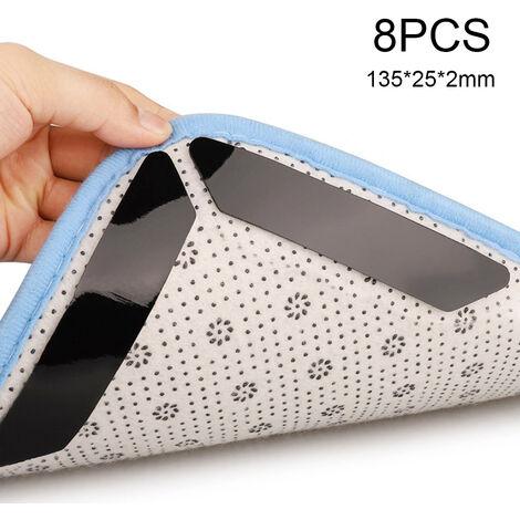 8Pcs Alfombra Gripper Alfombra-Grip Alfombra Pegatinas fijas Antideslizante Lavable Impermeable Strip-Mat para el piso del hogar Escalera Accesorios de bano