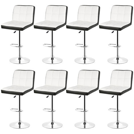 8pcs Bar Stool with Backrest £¬ 360 Degree Rotation, Height Adjustable £¬ White and Black