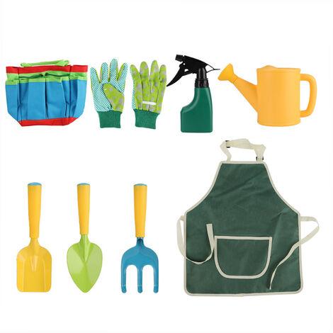 8Pcs Jardin Jouer Jouets Jardinage Sac Fourre-Tout Gardening Tool Kit Pelleteuses Truelle Transplanter Gants Rake Main Tablier De Jardin Pulverisateur