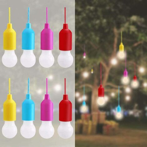 """main image of """"8pcs LED Pull Cord Light, Camping Lantern Bulb Portable Light Cord LED Batteries Decorative Bulb for Hiking Fishing Barbecue camping Wardrobe Parties Emergency Light, Warm White"""""""