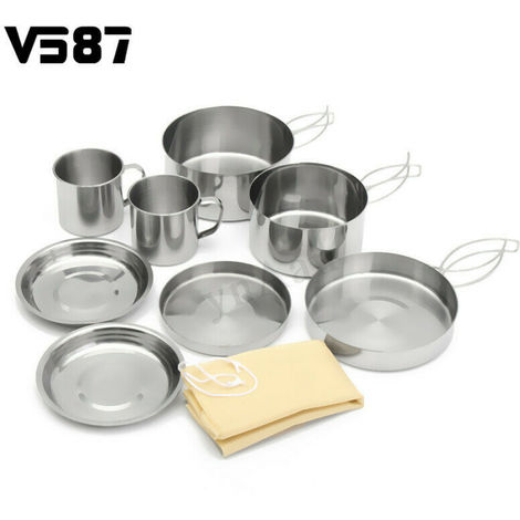 8Pcs Outdoor Camping Cookware Set Hiking Picnic Hiking Baking Bag Casserole Casserole Hasaki