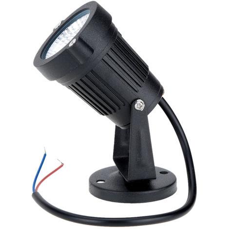 8W CA 85-265V IP65 Negro del aluminio del cesped punto de luz de lampara, blanco calido