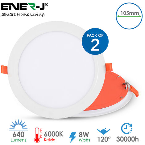 8W Premium LED Panel Downlighter Round 6000K (105mm dia). Pack of 2pcs