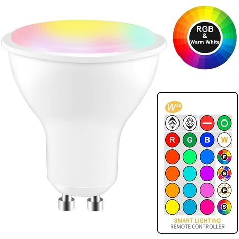 8W RGBW LED Ampoule GU10 Couleur Changement d'ambiance Éclairage LED Lampe Flash Strobe Fade Mode Bar KTV Décoratif Lumières + blanc chaud (2pcs)