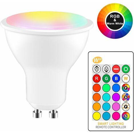 8W RGBW LED Ampoule GU10 Couleur Changement d'ambiance Éclairage LED Lampe Flash Strobe Fade Mode Bar KTV Décoratif Lumières + Blanc froid (4pcs)
