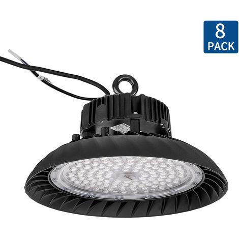 8X 150W Campana LED Industrial 3-en-1 Regulable, 5000K UFO LED Alta Bah